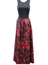 Aidan Mattox Black Red Multicolor Sleeveless Taffeta Print Long Gown Dress 4 NWT