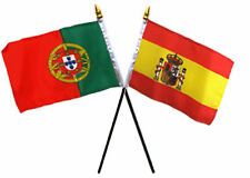 "Spain Spanish & Portugal Portuguese Flags 4""x6"" Desk Set Table Black Base"