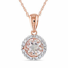 10k Rose Gold 1/10 ct TDW Diamond Morganite Halo Pendant Necklace G-H I2-I3