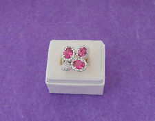 HOT PINK 3 STONE CZ COCKTAIL RING W/CLEAR CZ ACCENTS - 18GE - SIZE 7
