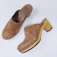 UGG Abbie Clog Mule Suede Sheepskin Wood Heel Sz 9 Chestnut Brown