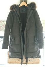 All Saints Down filled Puffer Parka Long Coat with fur lined hood UK10