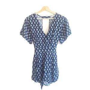 Atmos & Here Womens Size 10 Blue Paisley Print Romper Jumpsuit Pockets Tie Belt