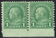 US:1923 1c FRANKLIN (578) Rotary plate margin pair. OGLH with bottom perf ERROR!