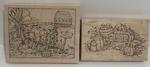 Peddlers Pack Art Impressions PUMPKIN PATCH Barn Farm Fall Autumn Rubber Stamps