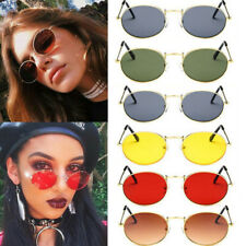 Womens Retro Oval Sunglasses Ellipse Frame Vintage Glasses Trendy Fashion Shades