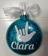Personalized ASL Christmas Ornament Gift Name Glitter Tree Bulb White Elephant