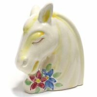 Rare Horse Head flower vase ceramic hand painted mid century floral  ~~adorable!