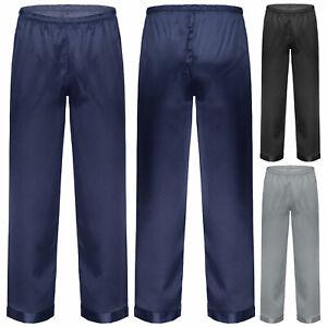 Men's Satin Pajama Pants Sleep Comfy Long Classic Pajama Bottoms Lounging Pants
