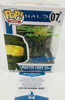 STEVE DOWNES JEN TAYLOR SIGNED MASTER CHIEF CORTANA FUNKO 07 BAS M62067 HALO