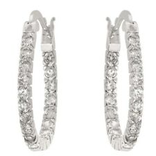 "1"" CZ CUBIC ZIRCONIA OVAL INSIDE & OUT HOOPS"