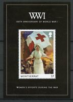 Montserrat 2014 MNH WWI WW1 World War I 100th 1v S/S Red Cross Military Stamps