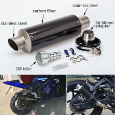 51mm Universal Motorcycle Carbon Fiber Stainless Steel Exhaust Pipe Muffler Tip