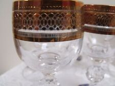 Set of 6 Bohemia Claudia Crystal Cordial/Liqueur Glasses Encrasted Gold Band (4)
