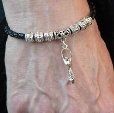 Goddess Bracciale Silver Moon la madre terra pagan wicca nera pelle sintetica