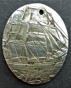 """""""SCHOONER"""" STERLING SILVER LOVE TOKEN MADE FROM A  3 PENCE CAN. SHIP $1.99 US C"""