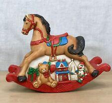 Rocking Horse Wind Up Music Box Birthday Gifts Ceramic Vintage Rare