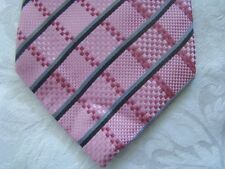 "Stafford Essentials Silk Neck Tie 60"" Pinks Gray Black Stripes Geometric Easter"