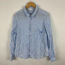 CP Shades Linen Blouse Button Shirt Womens Size Medium Blue White Long Sleeve