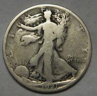 1921 Walking Liberty Half Dollar Grading VG Bargain Priced FREE Shipping  w5
