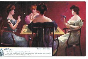 "Artist Drawn Postcard - ""Bridge Problems from 'Punch'"" - Four Ladies"