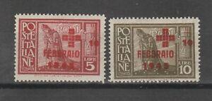 s38758 COLONIE EGEO RODI 1945 MXXLH* Pro Croce Rossa 2v Sassone 132/33