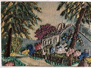 "Vintage Hiawatha Needlepoint ""Birthplace of John Howard Payne"" Framed 8"" By 10"""