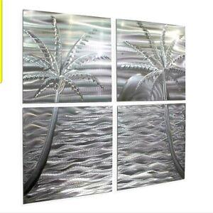 """HUGE Metal Wall Art  ULTRA MODERN 49""""×49"""" TROPICAL TREES  ORIGINAL Jon Allen"""
