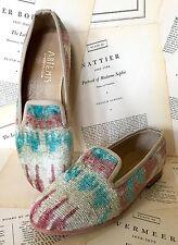 NIB Anthropologie Artemis tan turquoise Tribal Print Silk Velvet Loafer 39/8-8.5