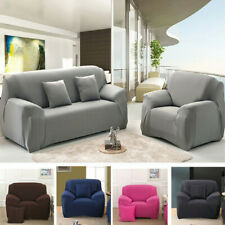 Stretch Slipcover Chair Loveseat Sofa Couch Solid Elastic Cover 1 2 3 4 Seater