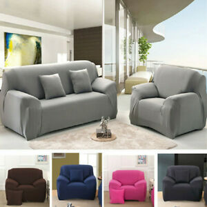 1 2 3 4 Seater Stretch Slipcover Chair Loveseat Sofa Couch Solid Elastic Cover**