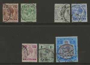 MALTA  FROM 1914/21 WATERMARK MULTIPLE CROWN CA SET  SG 69, 71, 75/6, 80, 81b,86