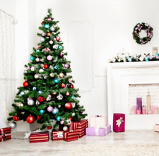 Photography backdrops Christmas Tree Red Silver Ball White Fireplace Background