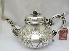 More details for large ornate silver plated epns tea pot - elkington 1865
