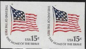 1618Cd 15 cent Flag Imperf Coil Error Pair