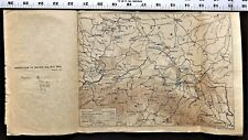 """WW1 Map on Vellum World War 1 """"Operations in Galacia in 1914"""" - Antique and Rare"""