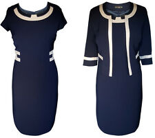 NAVY GOLD MOTHER OF THE BRIDE GROOM 2 PIECE FORMAL OUTFIT JACKET DRESS SIZE 14
