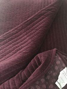 SONOMA King Pick Stitch QUILT Luxury VELVET Bedding RASPBERRY Blanket