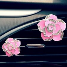 CAR AIR FRESHENER FLOWER AIR VENT FRAGRANCE PINKY PINK WITH CRYSTAL DIAMONDS