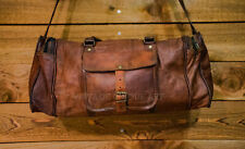 Men's Leather New Travel Luggage Gym New Duffel Bag Brown Genuine Vintage Bags