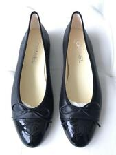 fdd9ed92eb2 CHANEL Black Leather Ballerina Flats Shoes Cap Toe Ballet CC Logo 38 Classic