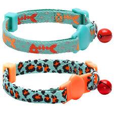 Blueberry Pet 2PC Set Vicious Orange & Mint Blue Webbing Breakaway Cat Collar