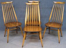 Set Of 4 Ercol Windsor Goldsmith 369 Elm & Beech Kitchen / Dining Chairs