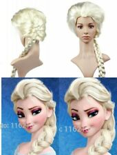 Braid Frozen Elsa Princess  Synthetic hair Cosplay Wig Light Blonde