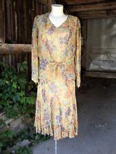 Vtg 1920's Floral Chiffon Jacket and Dress * Small * Godet Skirt Dropped Waist
