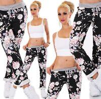 ITALY Damen Hose Sweat Baggy JogPants Freizeithose Jogging Blumen Muster schwarz