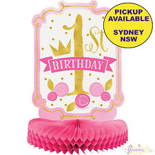 PINK & GOLD GIRL 1ST BIRTHDAY PARTY SUPPLIES HONEYCOMB CENTREPIECE DECORATIONS
