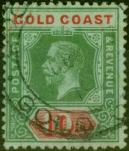 Gold Coast 1916 10s on Blue-Green Olive Back SG83a Fine Used