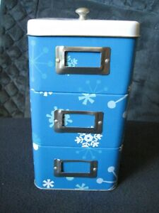 Metal TIN Holiday UNIT~ Stackable Square Container ~ Tin Cans Empty