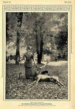 Dänische Lehnsgräfin F. Krag-Juel- Vind- Frijs erlegt Kronhirsch in Jütland 1904